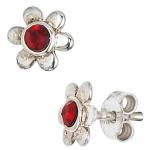 Kinder Ohrstecker Blume 925 Silber 2 Glassteine rot Ohrringe Kinderohrringe