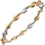 Armband 585 Gold Gelbgold Rotgold Weißgold tricolor dreifarbig 19 cm Goldarmband