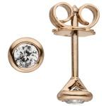 Ohrstecker rund 585 Gold Rotgold 2 Diamanten Brillanten 0, 14 ct. Ohrringe