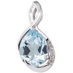 Anhänger 585 Gold Weißgold 5 Diamanten Brillanten 1 Blautopas blau Goldanhänger