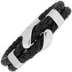 Armband 2-reihig Leder schwarz geflochten mit Edelstahl 19 cm