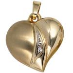 Anhänger Herz 333 Gold Gelbgold teil matt 1 Zirkonia Herzanhänger Goldherz