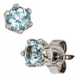 Ohrstecker rund 925 Sterling Silber 2 Blautopase hellblau blau Ohrringe