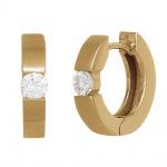Creolen rund 585 Gold Gelbgold mattiert 2 Diamanten Brillanten 0, 25ct. Ohrringe