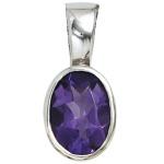 Anhänger oval 925 Sterling Silber rhodiniert 1 Amethyst lila violett