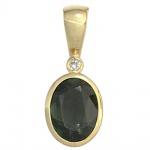Anhänger oval 585 Gold Gelbgold 1 Turmalin grün 1 Diamant 0, 01ct. Goldanhänger