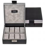 Sacher Uhrenetui Uhrenkasten Uhrenbox CARVON schwarz silbern für 8 Uhren