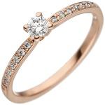 Damen Ring 585 Gold Rotgold 15 Diamanten Brillanten Rotgoldring Diamantring