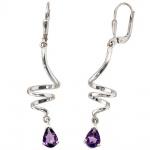 Boutons 925 Sterling Silber 2 Amethyste lila violett Ohrringe Ohrhänger