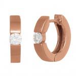 Creolen rund 585 Gold Rotgold mattiert 2 Diamanten Brillanten 0, 10ct. Ohrringe