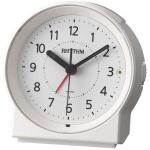 Rhythm 70650/0 Wecker Quarz analog weiß rund leise mit Licht Snooze