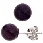Ohrstecker Kugel 925 Sterling Silber 2 Amethyste lila violett Ohrringe