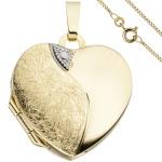 Medaillon Herz Anhänger zum Öffnen für 2 Fotos 333 Gold mit Kette 50 cm