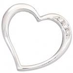 Anhänger Herz 585 Gold Weißgold 3 Diamanten Brillanten 0, 03ct. Herzanhänger