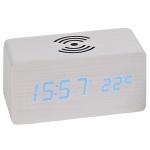 Atlanta 1129/0 Tischwecker WIRELESS CHARGING weiß digital Temperatur Datum
