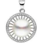Anhänger rund 925 Sterling Silber 1 Süßwasser Perle mit Zirkonia Perlenanhänger