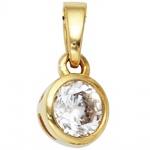 Anhänger 925 Sterling Silber gold vergoldet 1 Zirkonia