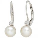 Boutons 925 Sterling Silber 2 Süßwasser Perlen 2 Zirkonia Ohrringe Ohrhänger