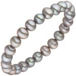 Armband mit Süßwasser Perlen grau 19 cm Perlenarmband elastisch