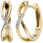 Creolen 585 Gold Gelbgold 10 Diamanten Brillanten 0, 06ct. Ohrringe Goldohrringe