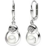 Boutons 925 Sterling Silber 2 Süßwasser Perlen 8 Zirkonia Ohrringe Ohrhänger