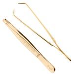 Pfeilring Augenbrauen-Pinzette golden 9 cm lang