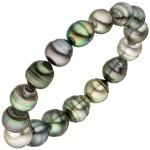 Armband mit Tahiti Perlen multicolor 20 cm Perlenarmband elastisch