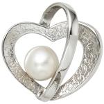 Anhänger Herz 925 Sterling Silber eismatt 1 Süßwasser Perle Perlenanhänger