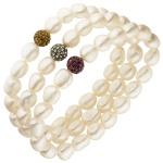 3-teiliges Set aus Armbändern mit Süßwasser Perlen und Kristallen 19 cm
