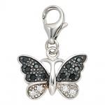 Einhänger Charm Schmetterling 925 Sterling Silber rhodiniert mit Zirkonia
