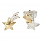 Ohrstecker Stern Sterne 925 Silber bicolor vergoldet 1 Zirkonia Ohrringe