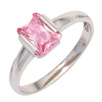 Damen Ring 925 Sterling Silber rhodiniert 1 Zirkonia rosa Silberring