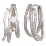 Creolen 925 Sterling Silber mattiert 8 Zirkonia Ohrringe Silbercreolen