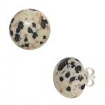 Ohrstecker rund 925 Sterling Silber 2 Dalmatiner-Jaspise Ohrringe
