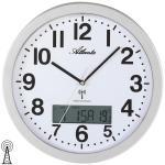 Atlanta 4380/19 Wanduhr Funk Funkwanduhr analog silbern mit Datum Thermometer