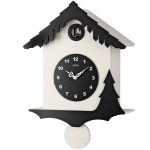 AMS 7391 Kuckucksuhr Wanduhr Quarz mit Pendel modern schwarz weiß