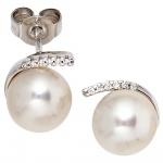 Ohrstecker 585 Gold Weißgold 12 Diamanten Brillanten 2 Süßwasser Perlen Ohrringe