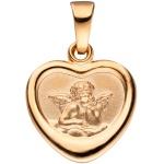 Anhänger Herz Schutzengel 925 Silber rotgold vergoldet Prägung Gott schütze Dich
