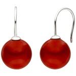 Ohrhänger 925 Silber 2 Muschelkern Perlen rot 12 mm Ohrringe Perlenohrringe