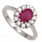Damen Ring 925 Sterling Silber rhodiniert 1 Rubin rot 12 Zirkonia Silberring