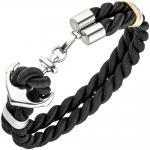 Armband Anker 2-reihig aus Nylonkordel schwarz mit Edelstahl