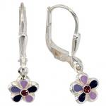 Kinder Boutons Blume 925 Silber 2 Glassteine lila violett Ohrringe Ohrhänger