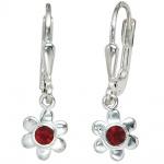 Kinder Boutons Blume 925 Silber 2 rote Glassteine Ohrringe Ohrhänger