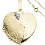 Medaillon Herz Anhänger zum Öffnen für 2 Fotos 333 Gold mit Kette 45 cm