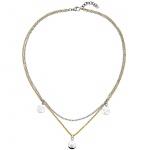Halskette 2-reihig mit Anhängern Herz Stern Schmetterling Edelstahl bicolor