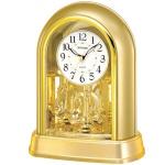 Rhythm 7696/9 Tischuhr Quarz mit Drehpendel golden mit SWAROVSKI® ELEMENTS
