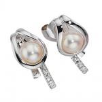 Ohrstecker 585 Gold Weißgold 6 Diamanten Brillanten 2 Süßwasser Perlen Ohrringe
