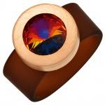 Damen Ring PVC braun Edelstahl rotgoldfarben beschichtet 1 SWAROVSKI® ELEMENT