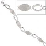 Armband 925 Sterling Silber rhodiniert mattiert 19 cm Silberarmband Karabiner