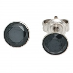 Ohrstecker rund 925 Sterling Silber rhodiniert 2 Zirkonia schwarz Ohrringe
